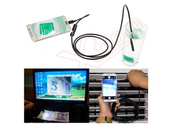 Endoscopio Waterproof AN97 micro USB con 6 LEDS  Android. L: 2m. Diámetro de la lente: 7mm
