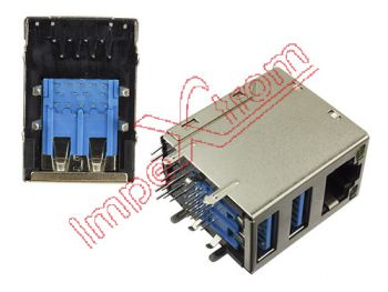 Doble conector USB 3.0 y conector Network Notebook