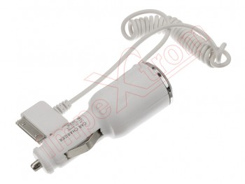 White car charger with DOC output for iPad y iPhone