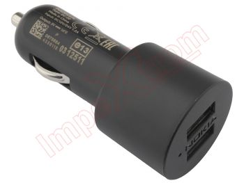 Black Nokia DC-20 car charger with 2 USB 1A outputs, in blister