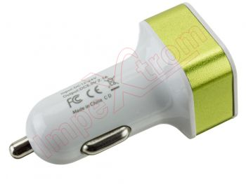 Universal car charger QC-2USB lime green with 2 USB inputs