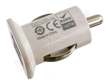 White car charger with dual USB input, 12 - 24V