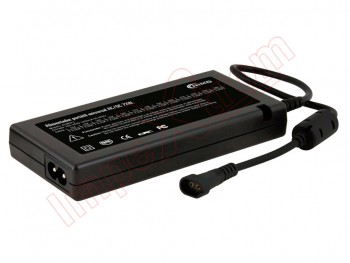 Black Charger / Universal manual adjustable power supply for laptops of 72W, in blister.
